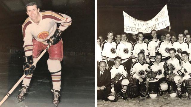 Hans-Martin Sprecher et ses coéquipiers du Genève-Servette accèdent à la Ligue nationale A le 1er mars 1964. [RTS]