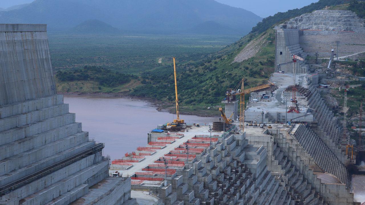 Le Grand barrage de la Renaissance en pleine construction sur le Nil en Ethiopie. [Tiksa Negeri - Reuters]