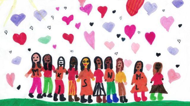 Noirs, blancs, tous égaux, tous différents. Un dessin réalisé par Clotilde. [Clotilde - RTS]