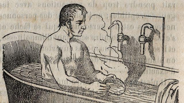 """Les gestes du bain (gravure dans """"La Sante Universelle - Guide Médical des Familles"""", 1852). Bianchetti/Leemage  AFP [Bianchetti/Leemage  - AFP]"""