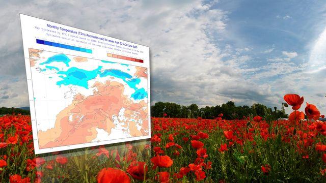 Anomalies de températures prévues pour la semaine du 22 au 28 juin 2020 [Claude Jaccard - Claude Jaccard/ECMWF]