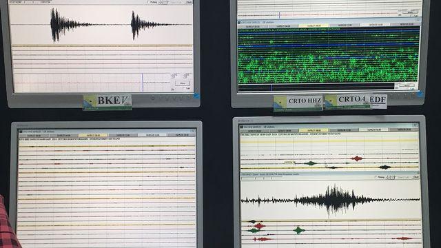 Des sismographes de l'observateur vésuvien de Naples. En haut à gauche, des microséismes habituels. En bas à droite, le passage d'un bus de touristes qui monte sur la route du Vésuve. Silvio Dolzan RTS [Silvio Dolzan - RTS]