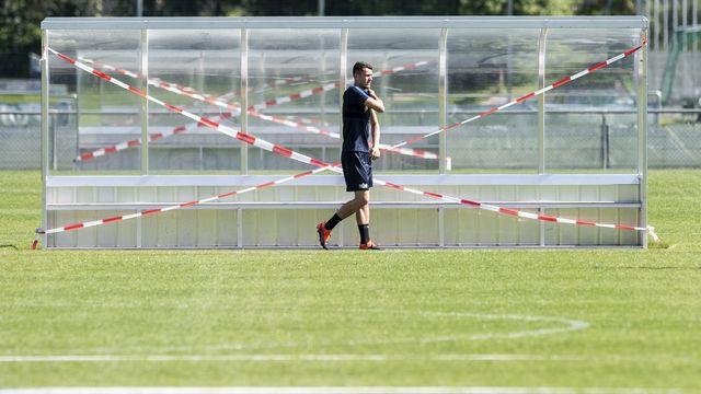 Le premier entraînement du FC Zurich après la pause due à la pandémie de Covid-19, le 25 mai 2020. [Ennio Leanza - Keystone]