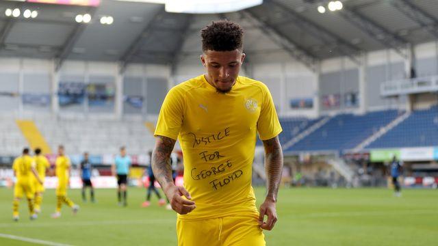 Jadon Sancho du Borussia Dortmund s'est engagé en faveur de George Floyd. [Lars Baron  - EPA/Keystone]