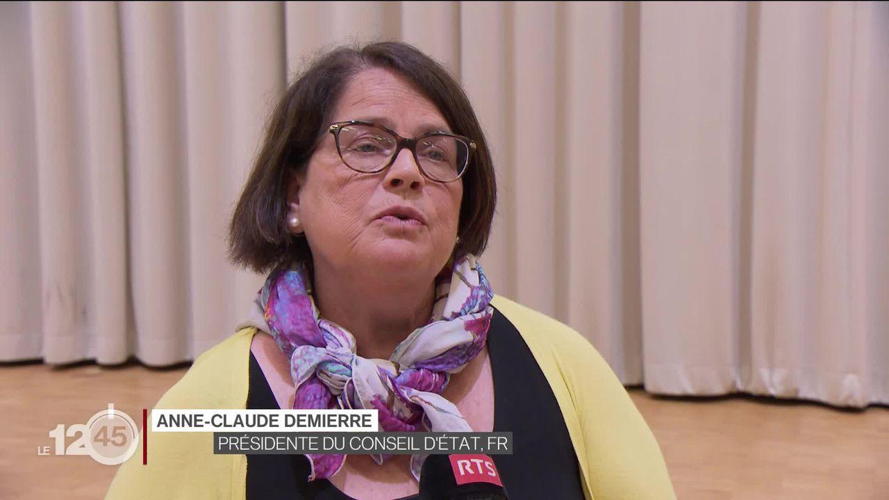 Anne-Claude Demierre à propos de l'aide que le conseil d'Etat fribourgeois va libérer pour les entreprises avec des apprentis [RTS]