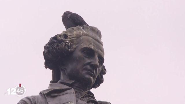 Un collectif a lancé une pétition pour faire disparaître la statue de David de Pury à Neuchâtel [RTS]