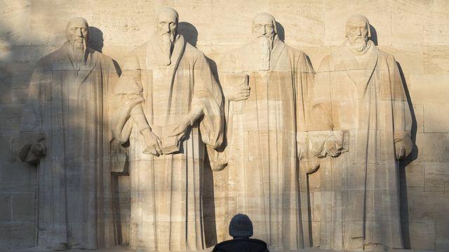 Le Monument international de la Réforme, également connu sous le nom de Mur de la Réforme à Genève. [Gaetan Bally - Keystone]