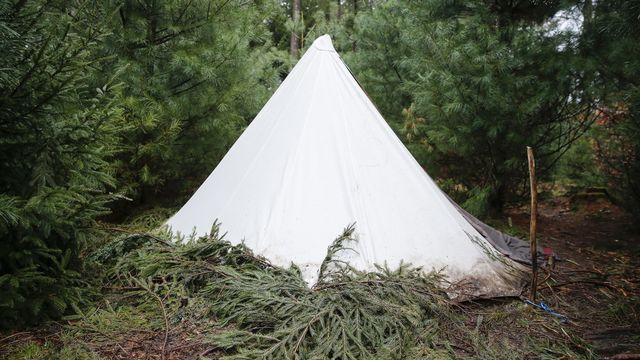 En décrochage scolaire, un groupe de jeune avait monté une tente dans la forêt de Bremgarten à Berne, et y a vécu pendant plus d'un an en 2015. [Peter Klaunzer - Keystone]