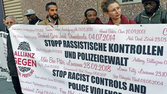 Une manifestation contre les contrôles racistes et la violence policière à Zurich (image d'illustration). [Walter Bieri - Keystone]