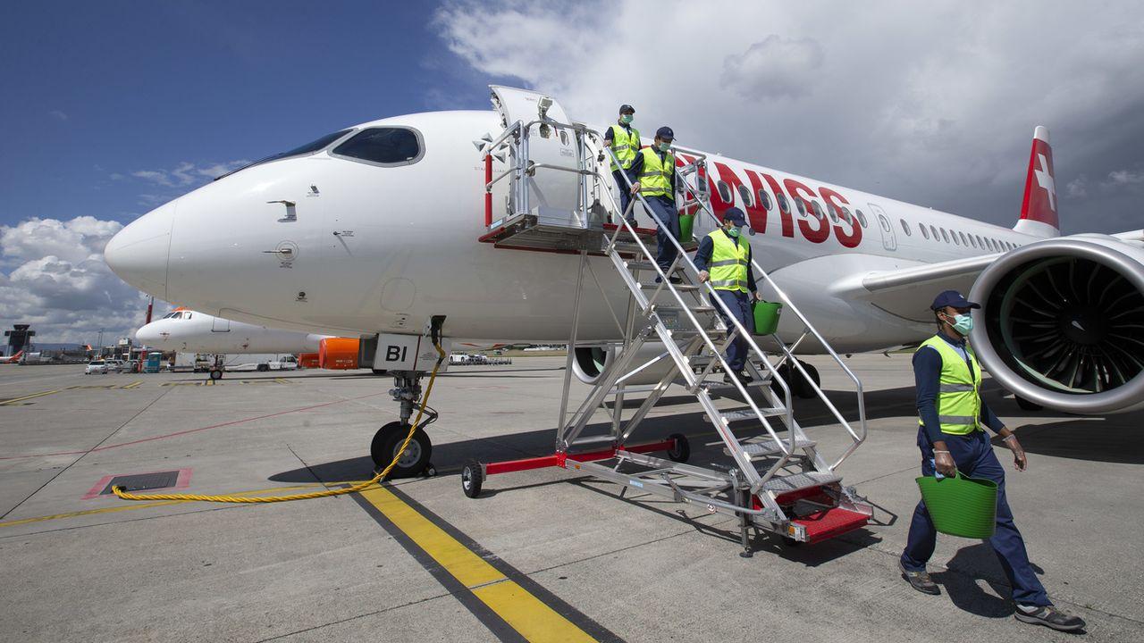 Un appareil de Swiss en partance pour Londres, lundi 15.06.2020. [Salvatore Di Nolfi - Keystone]
