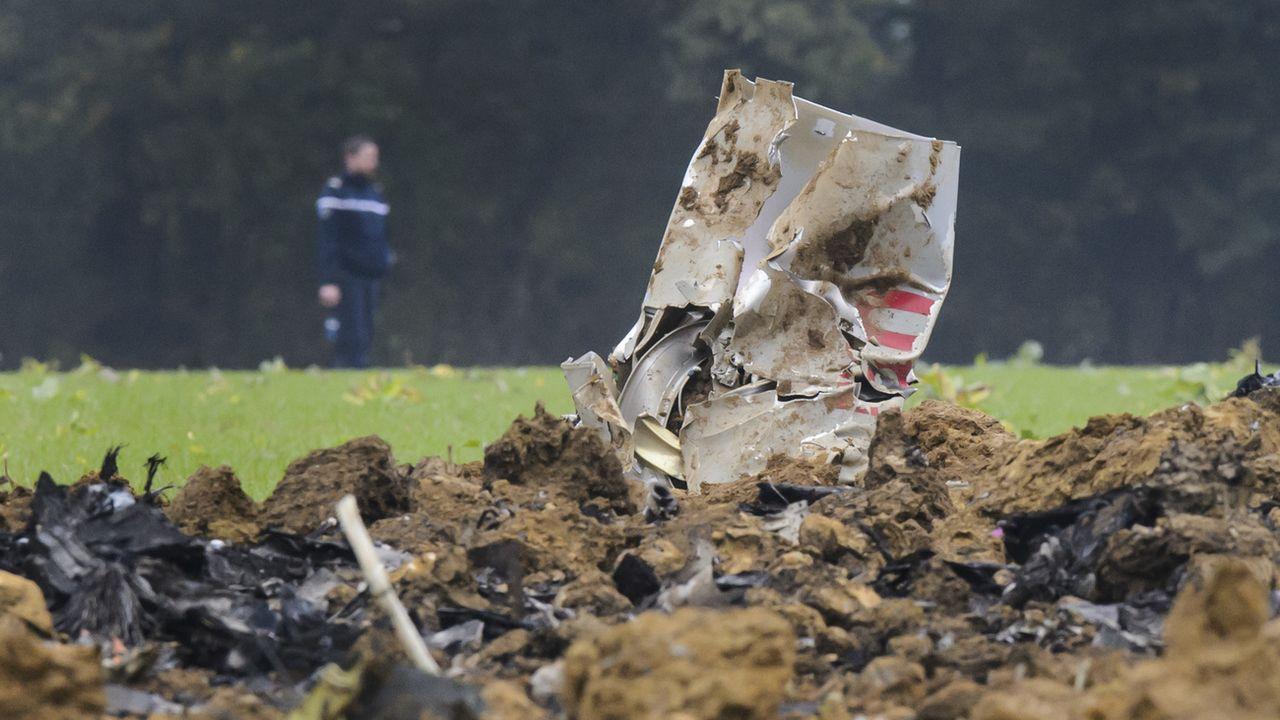 Le F/A-18 de l'armée suisse s'était écrasé dans le Jura français. [Jean-Christophe Bott - KEYSTONE]