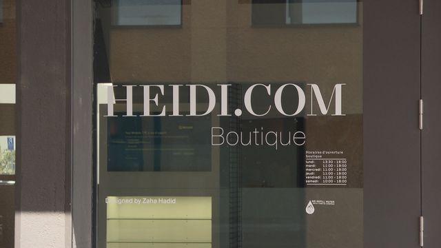 Au centre-ville de Neuchâtel, la boutique d'Heidi.com est vide, apparemment à l'abandon. [Johann Metry - RTS]