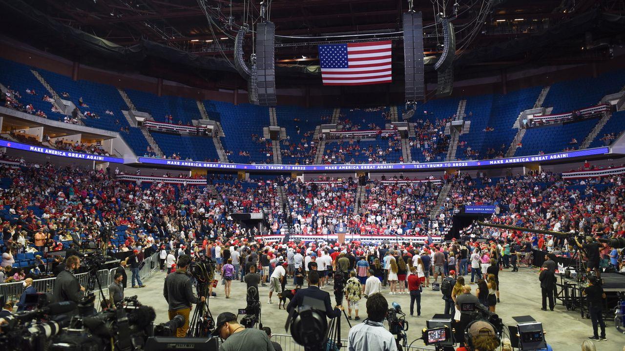 Le président américain Donald Trump s'exprime lors de son meeting électoral à Tulsa le 20 juin 2020. [EPA/ALBERT HALIM - Keystone]