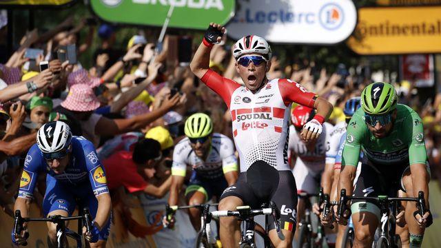 Vainqueur d'étape l'an dernier sur le Tour, Caleb Ewan tentera de récidiver l'automne prochain. [Christophe Ena - AP]