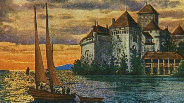 Carte postale du Château de Chillon en 1999. [RTS]
