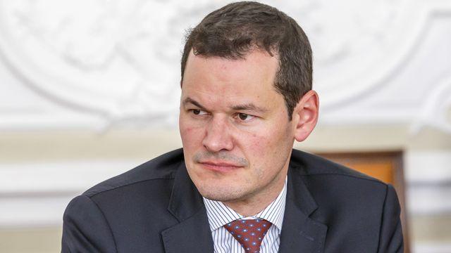 Le conseiller d'Etat genevois Pierre Maudet, photographié ici la 17 avril 2019 à Genève. [Salvatore Di Nolfi - Keystone]
