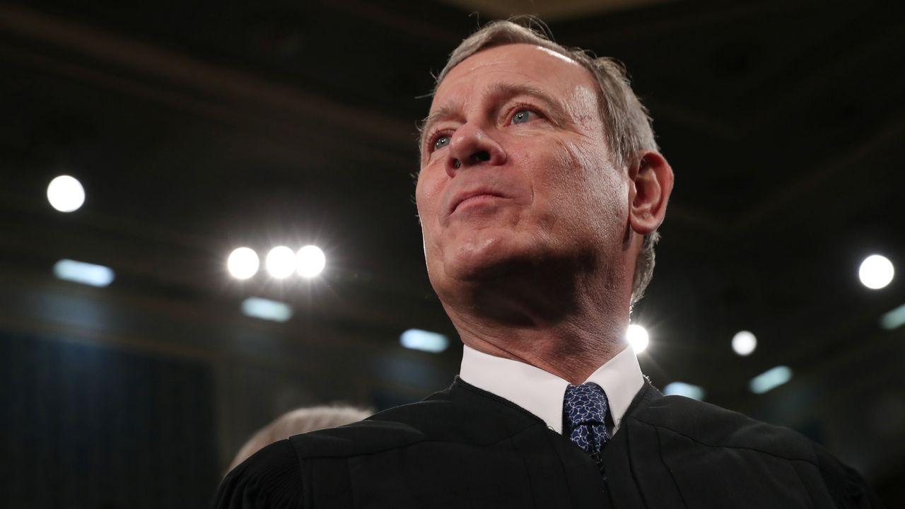 Le chef de la Cour, John Roberts, ici le 4 février 2020 lors du discours de Donald Trump sur l'état de l'Union. [Leah Millis - Reuters]