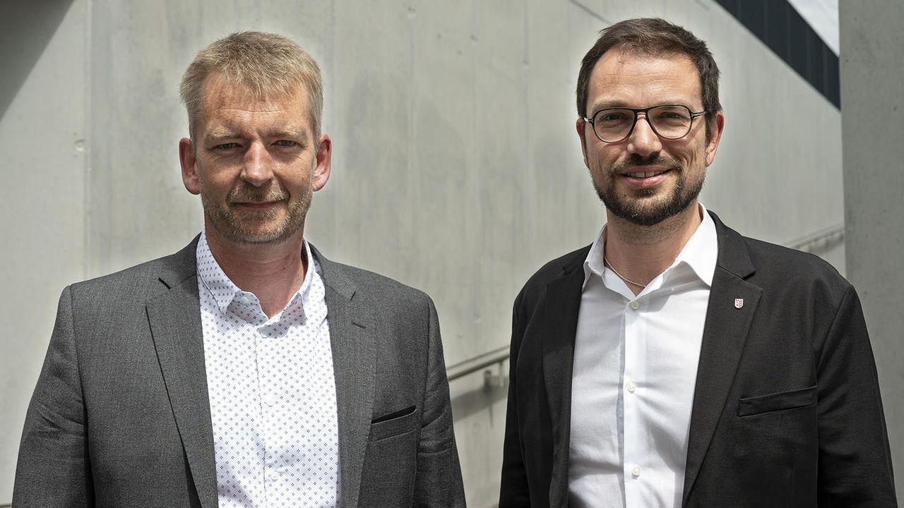 Les deux candidats démocrates-chrétiens Stéphane Babey (gauche) et Martial Courtet. [PDC Jura]