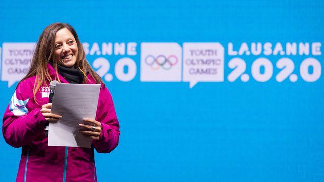 Présidente du Comité d'organisation des JOJ 2020, Virginie Faivre a de quoi se réjouir. [Gabriel Monnet - Keystone]