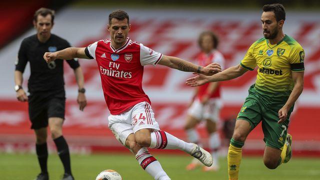 Xhaka a grandement contribué au succès des Gunners contre Norwich. [Mike Egerton - Keystone]