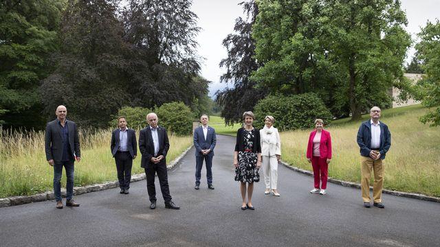 Le Conseil fédéral lors de leur course d'école à Riggisberg. [Peter Klaunzer - Keystone]