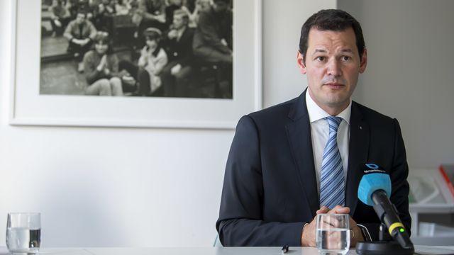 Le conseiller d'Etat Pierre Maudet lors d'une conférence de presse le 1er juillet dernier. [Martial Trezzini - Keystone]