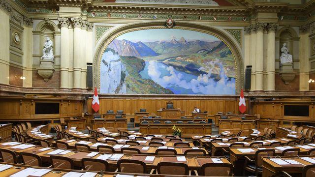 La salle du Conseil national à Berne. [Anthony Anex - Keystone]