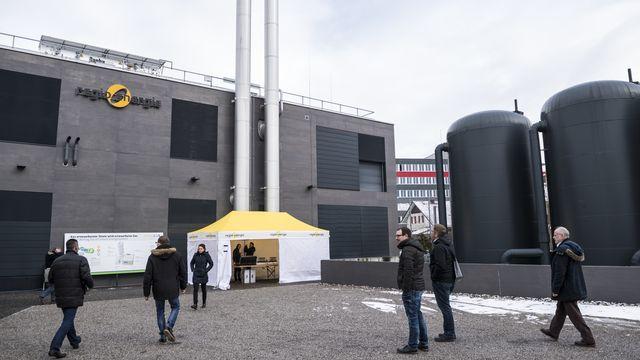 Les usines de méthanisation (ici à Soleure) permettent de récupérer l'énergie produite lors de la décomposition des matières organiques, plutôt que de la laisser s'échapper dans l'atmosphère [Adrien Perritaz - Keystone]