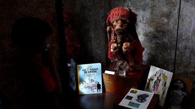 """La momie du parc zoologique Pairi Daiza en Wallonie qui aurait inspiré Hergé pour son personnage de Rascar Capac dans """"Les 7 boules de cristal"""". [John Thys - AFP]"""