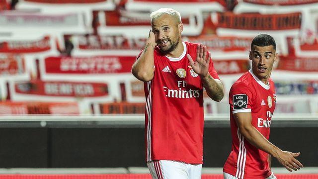 Seferovic a ouvert le score à la 28e minute face au Sporting. [Miguel A. Lopes - Keystone]