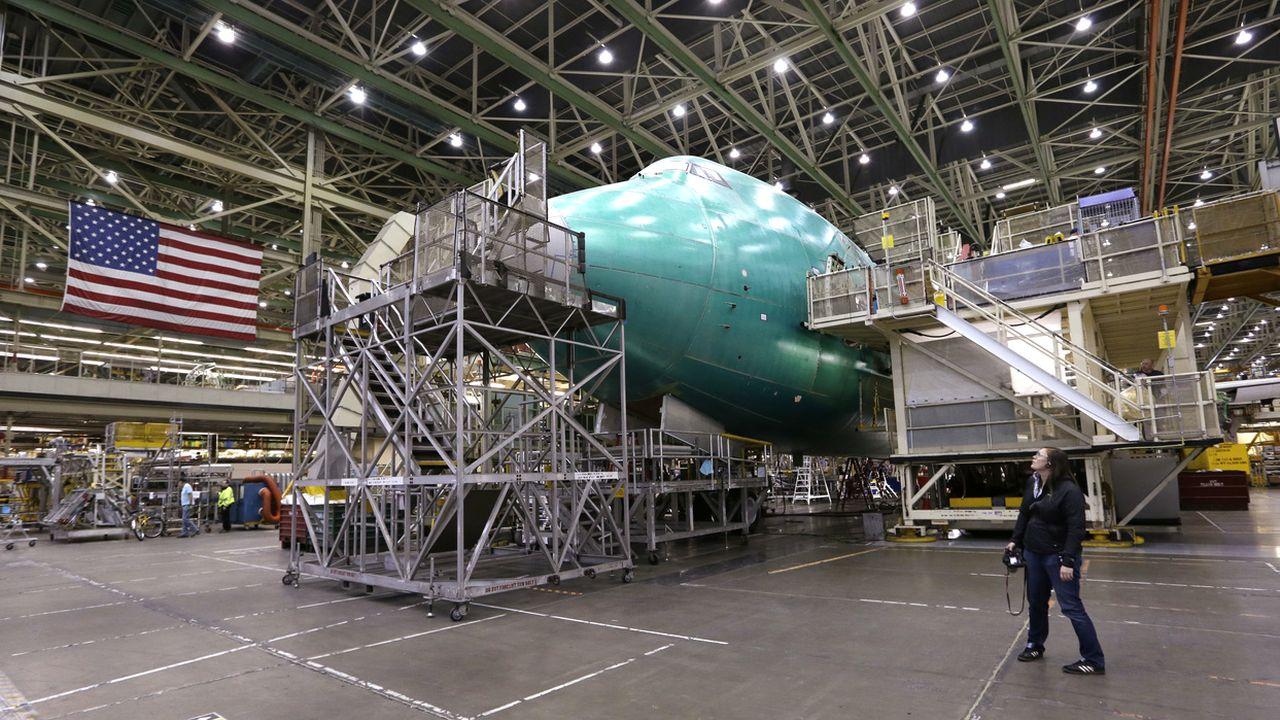 Chaîne de montage du 747 dans les usines Boeing d'Everett dans l'Etat de Washington. [Elaine Thompson - AP/Keystone]