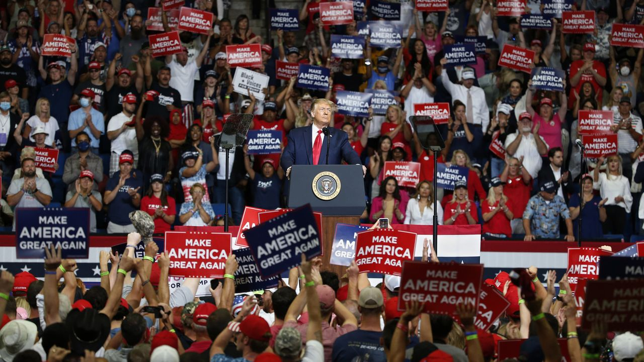 Donald Trump lors d'un meeting à Tulsa le 20 juin 2020. [Sue Ogrocki - AP Photo/Keystone]