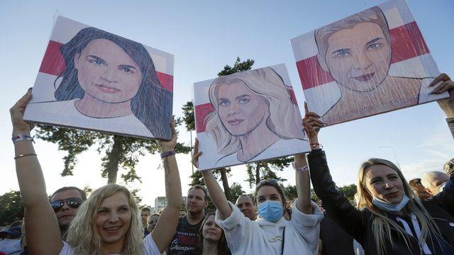 Trois femmes unies contre Alexandre Loukachenko pour la présidentielle en Biélorussie. [Sergei Grits - AP Photo/Keystone]