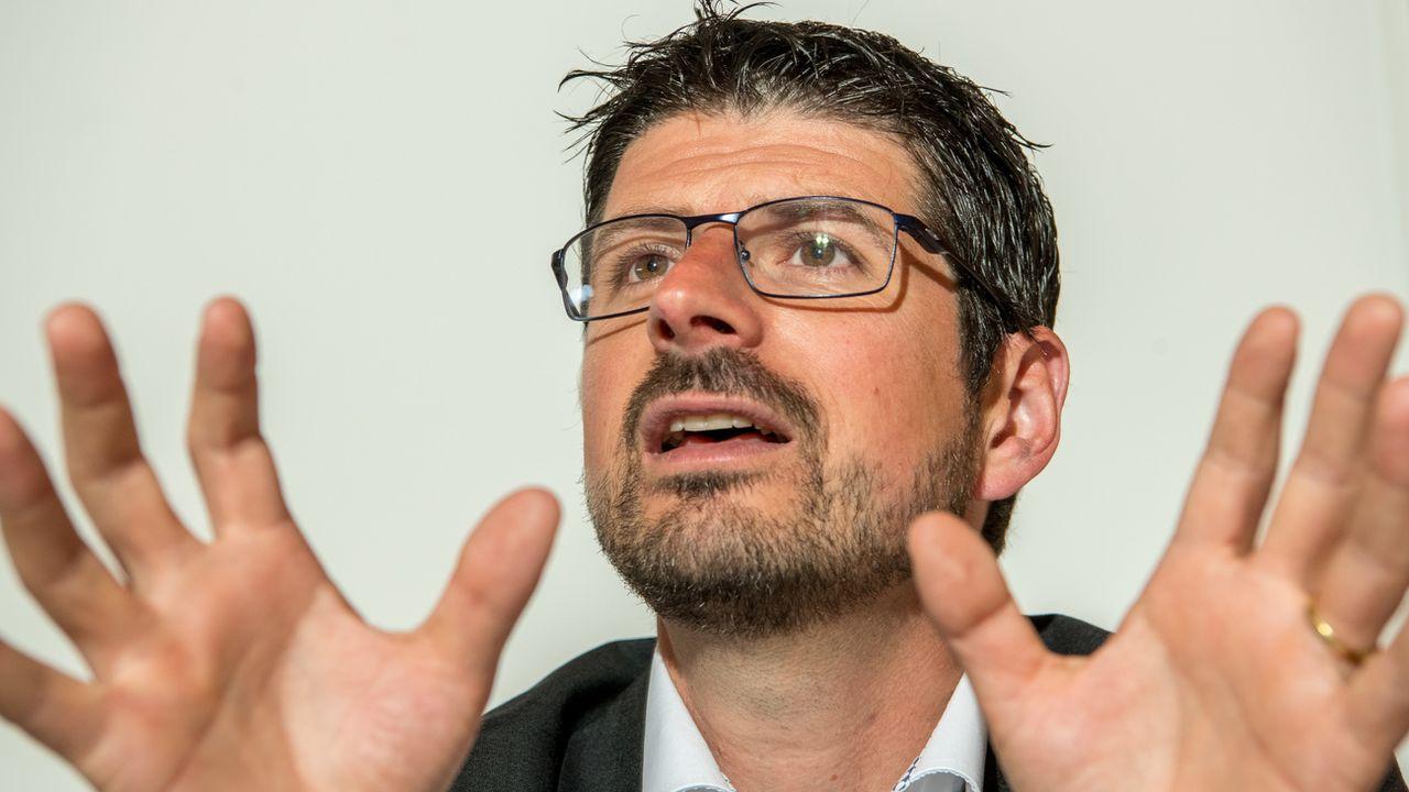 Yannick Buttet, président de la commune de Collombey-Muraz, en août 2018. [Maxime Schmid - Keystone]