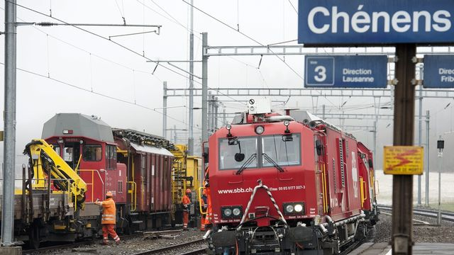 L'agression a eu lieu dans un Intercity Genève-Fribourg, à proximité de la gare de Chénens-FR (photo d'archive) [Laurent Gillieron - Keystone]