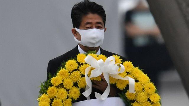 Le Premier ministre japonais Shinzo Abe lors de la principale cérémonie du souvenir à Hiroshima, le jeudi 6 août 2020. [Taketo Oishi - The Yomiuri Shimbun/AFP]