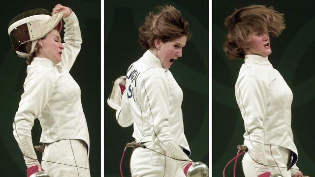 La fougue de Sophie Lamon en finale de la compétition par équipes fait partie des images fortes des JO de Sydney. [Herbet Knosowski - Keystone]