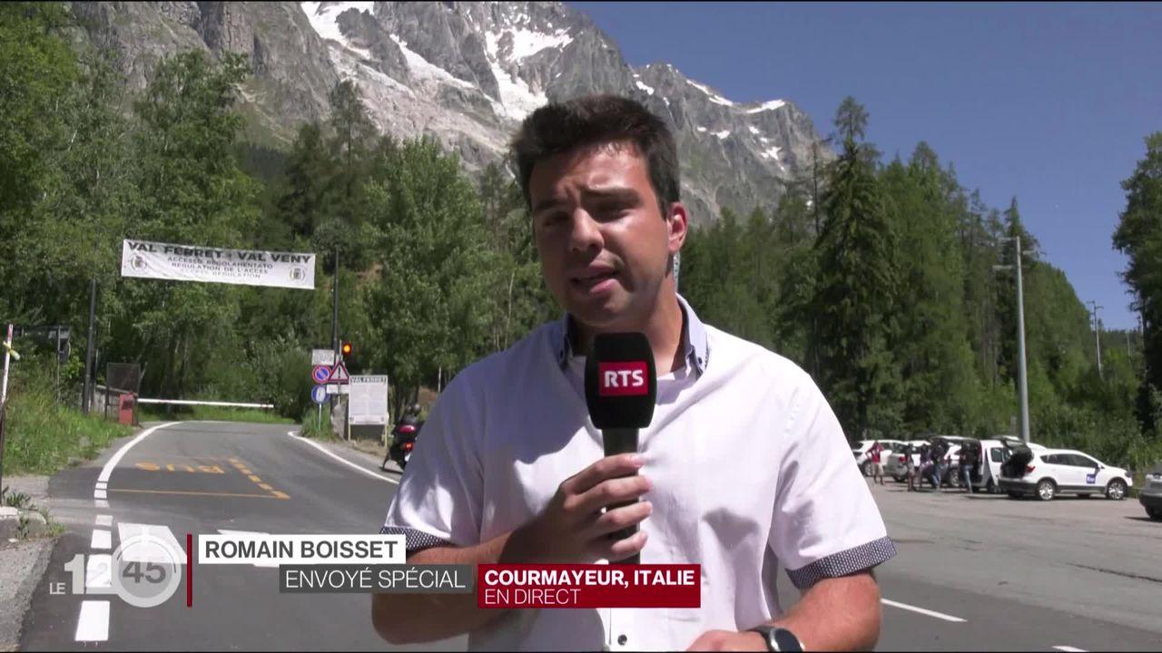 Une partie du glacier du Mont-Blanc menace de s'effondrer dans le val d'Aoste. Les explications de Romain Boisset en direct de Courmayeur, Italie. [RTS]