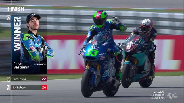 GP de République Tchèque (#4), Moto2: Bastianini (ITA) s'impose, Lüthi (SUI) 17e et Aegerter (SUI) 21e [RTS]