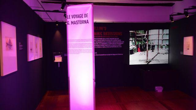 """Une des salles de l'exposition """"Felliniʹs Oniric Obsessions"""" à la Maison du diable de Sion. [Indra Crittin - fondation-fellini.ch]"""