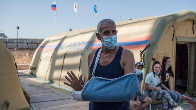 L'aide internationale (ici, Russe) a afflué pour pallier aux destructions des hôpitaux de Beyrouth après l'explosion du 4 août. [Valeriy Melnikov - Sputnik/AFP]