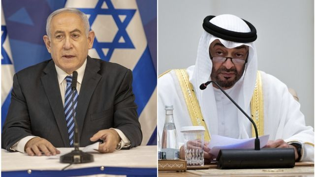 Benjamin Netanyahu (à gauche) et Mohammed ben Zayed Al-Nahyane. [Photomontage - AFP/Keystone]