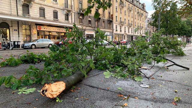 Genève a été balayée par un violent orage jeudi soir. [Philippe Revaz - RTS]