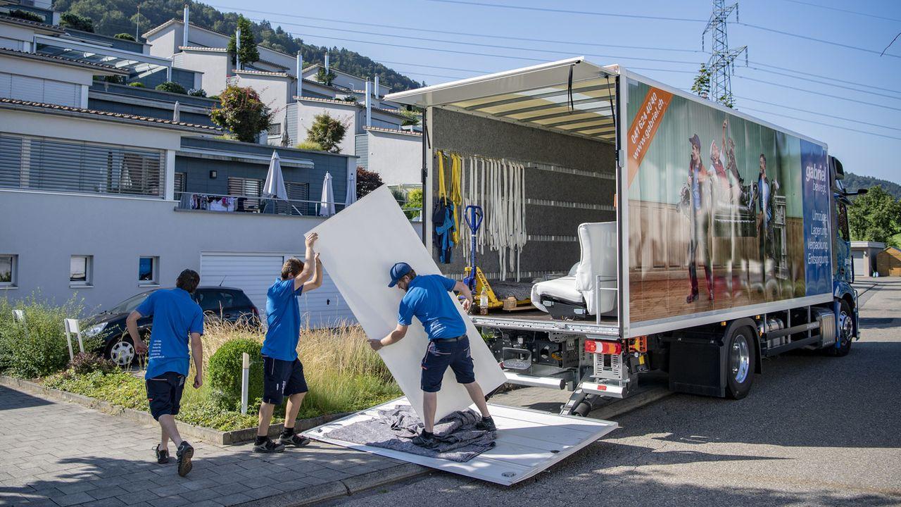 Un déménagement, le 30 juillet 2020 à Root dans le canton de Lucerne. [Urs Flueeler - Keystone]