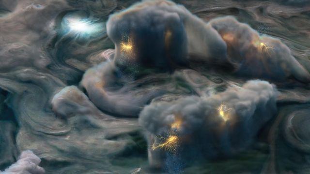 Illustration d'orages sur Jupiter. NASA/JPL-Caltech/SwRI/MSSS/Gerald Eichstädt [NASA/JPL-Caltech/SwRI/MSSS/Gerald Eichstädt]