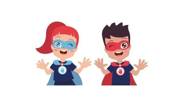 Super-pouvoirs.ch, un site qui propose du matériel pédagogique pour expliquer les gestes barrières et la microbiologie aux élèves suisses des classes primaires. [ HygiMed Sàrl - 2020]