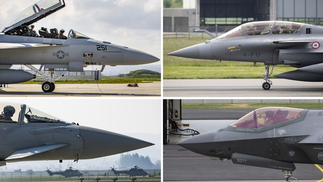 Les quatre avions en lice pour remplacer les F-A-18 de l'armée suisse: le F/A-18 Super Hornet, le Rafale, l'Eurofighter et le F-35 (de gauche à droite et de haut en bas). [Gaëtan Bally/Peter Klaunzer/Jean-Christophe Bott - Keystone]