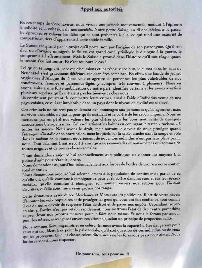 La lettre placardée en ville de Neuchâtel.  [Twitter]