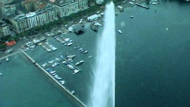 Le Jet d'eau de Genève en 1977. [RTS]