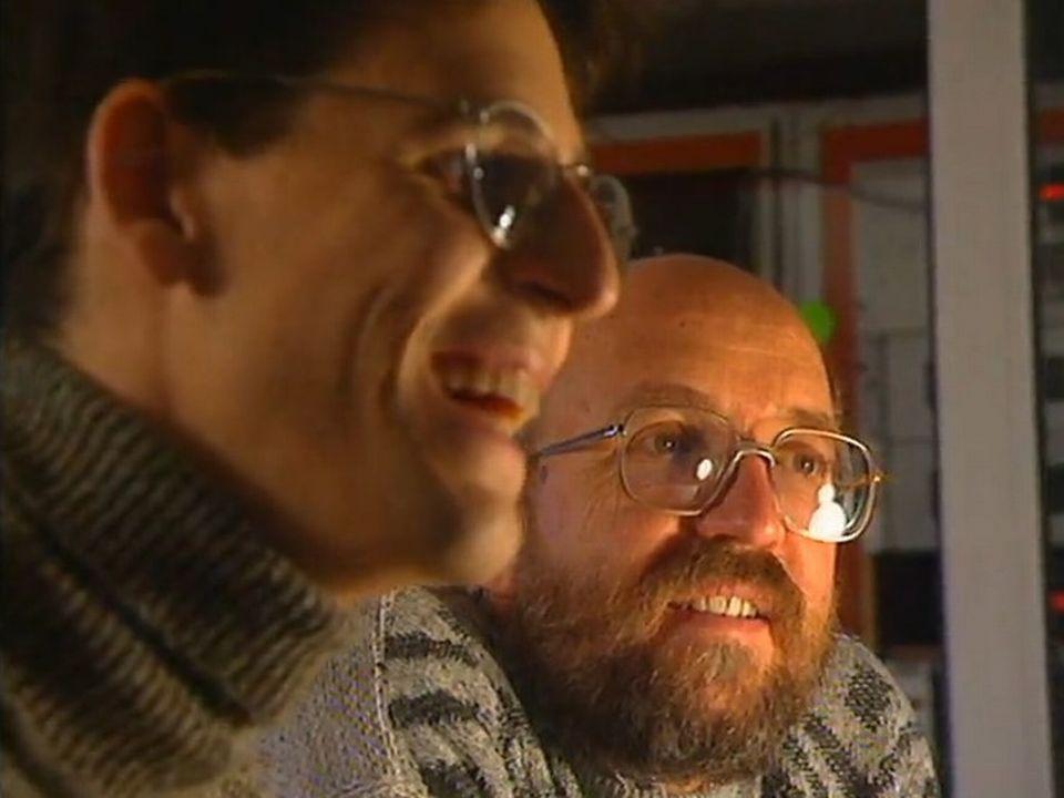 Didier Quéloz et Michel Mayor en 1995. [RTS]
